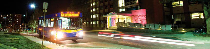 A photo of SafeBus in front of Hashinger Hall.